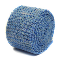 Frederick Thomas speckled sky blue & white skinny knitted wool tie FT2207 RRP£20