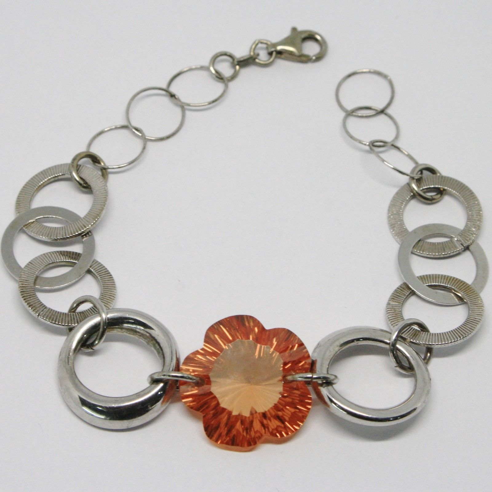 925 STERLING SILVER BRACELET BIG ORANGE FACETED FLOWER, DAISY, WORKED CIRCLES
