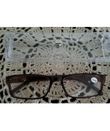 Brown Plastic Framed ~ Spring Hinged ~ +2.50 Reading Glasses w/Clear Cas... - $16.50