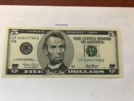 USA United States $5.00 banknote uncirculated 2001 #2 - $12.95