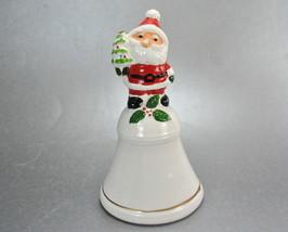 Santa Claus Figure Handle Of  White Ceramic Bell Vintage - $9.99