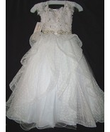 Perfect Angels Little Girls' Beaded Tiered All White Pageant/Flower Gown... - $488.99