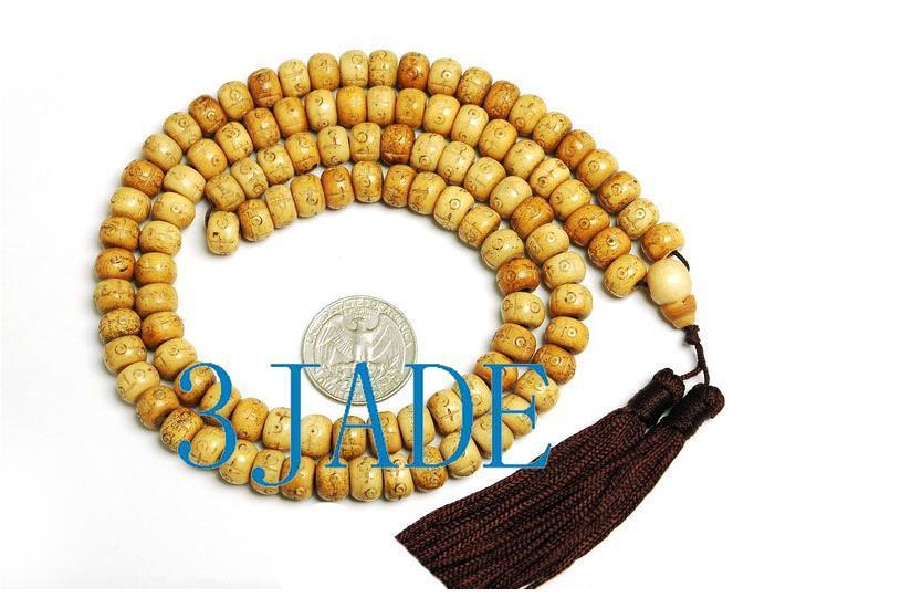 Vintage Style Tibetan Carved 108 Bone Prayer Beads Mala