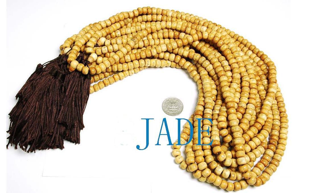Vintage Style Tibetan Carved 108 Bone Prayer Beads Mala  image 2