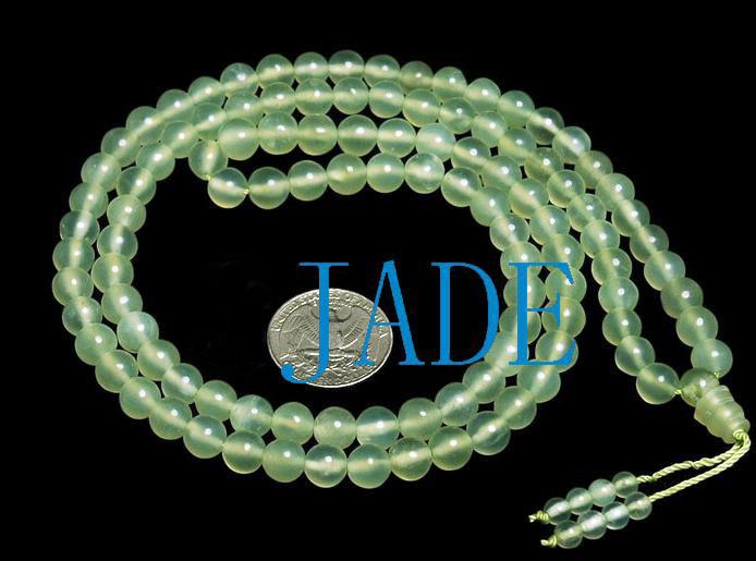 "32"" Translucent Jade Meditation Yoga Prayer Beads Mala"
