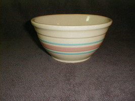 "McCoy pottery 8"" bowl pink blue bands vintage VG - $45.00"