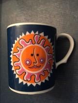 Groovy Flower Power 1960s Orange Pink Blue Sunshine Mug Coffee Cup - Vin... - $7.13