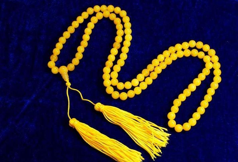 "32"" Tibetan Yellow Jade Meditation Prayer Beads Mala"