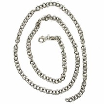 18K WHITE GOLD CHAIN 17.70 IN, ROUND CIRCLE ROLO LINK, DIAMETER 4 MM MADE ITALY image 2