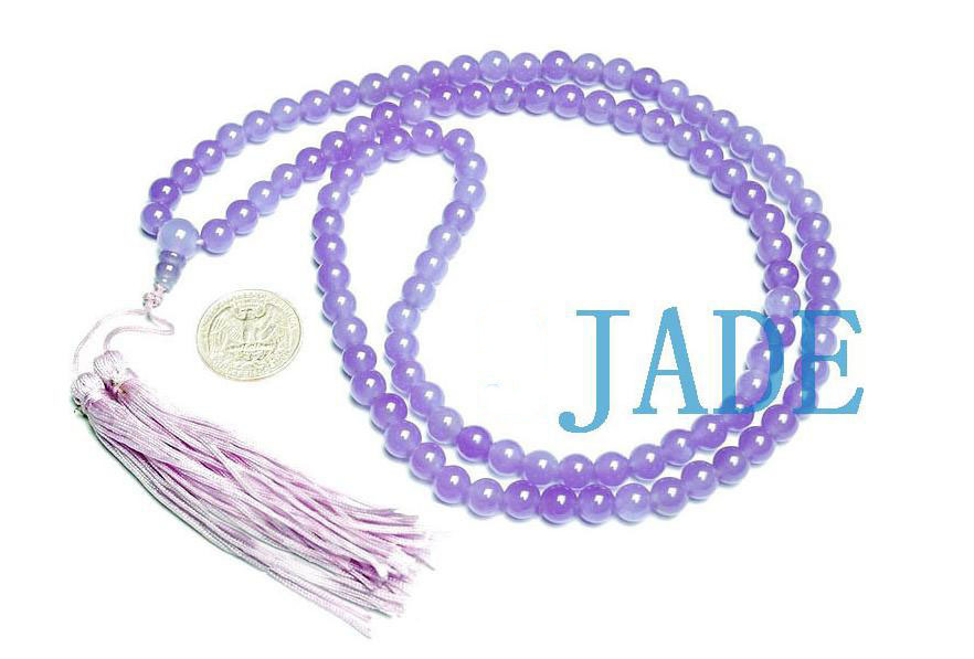 "32"" Tibetan 108 Purple/Lavender Jade Prayer Beads Mala"
