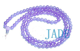 "32"" Tibetan 108 Purple/Lavender Jade Prayer Beads Mala  image 2"