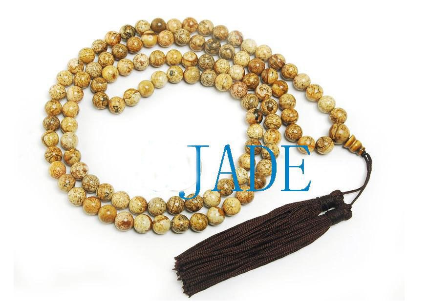 "34"" Natural Jasper Meditation Yoga Prayer Beads Mala image 1"