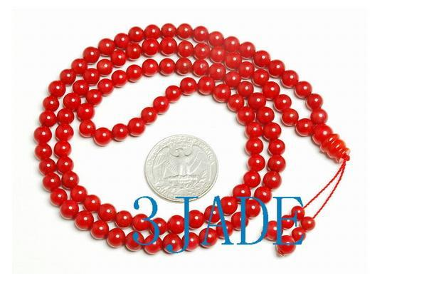 "25"" Tibetan 108 Red Coral Meditation Prayer Beads Mala   image 3"