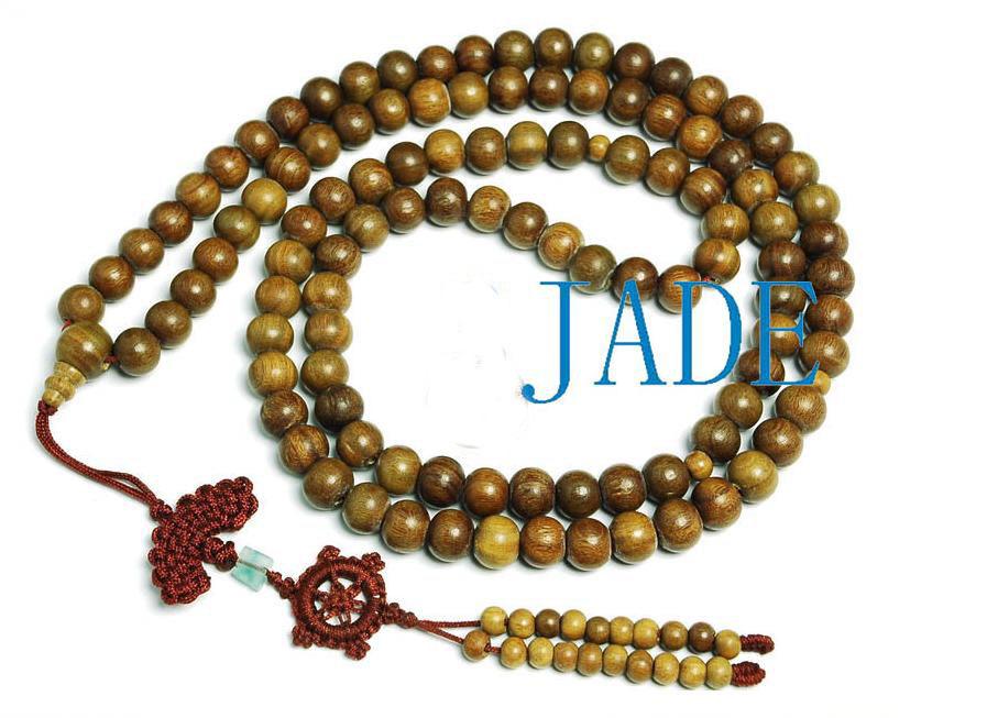 "44"" Tibetan 108 Natural Sandalwood Prayer Beads Mala"