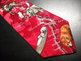 WWF World WildLife Fund Neck Tie North American Wildlife Bright Reds Design 188 image 2