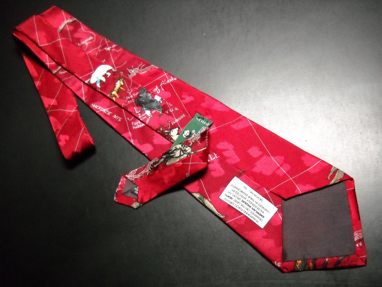 WWF World WildLife Fund Neck Tie North American Wildlife Bright Reds Design 188 image 5