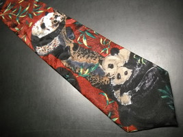 Endangered Species Neck Tie Repeating Pandas on Reds and Greens image 2