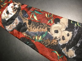 Endangered Species Neck Tie Repeating Pandas on Reds and Greens image 3