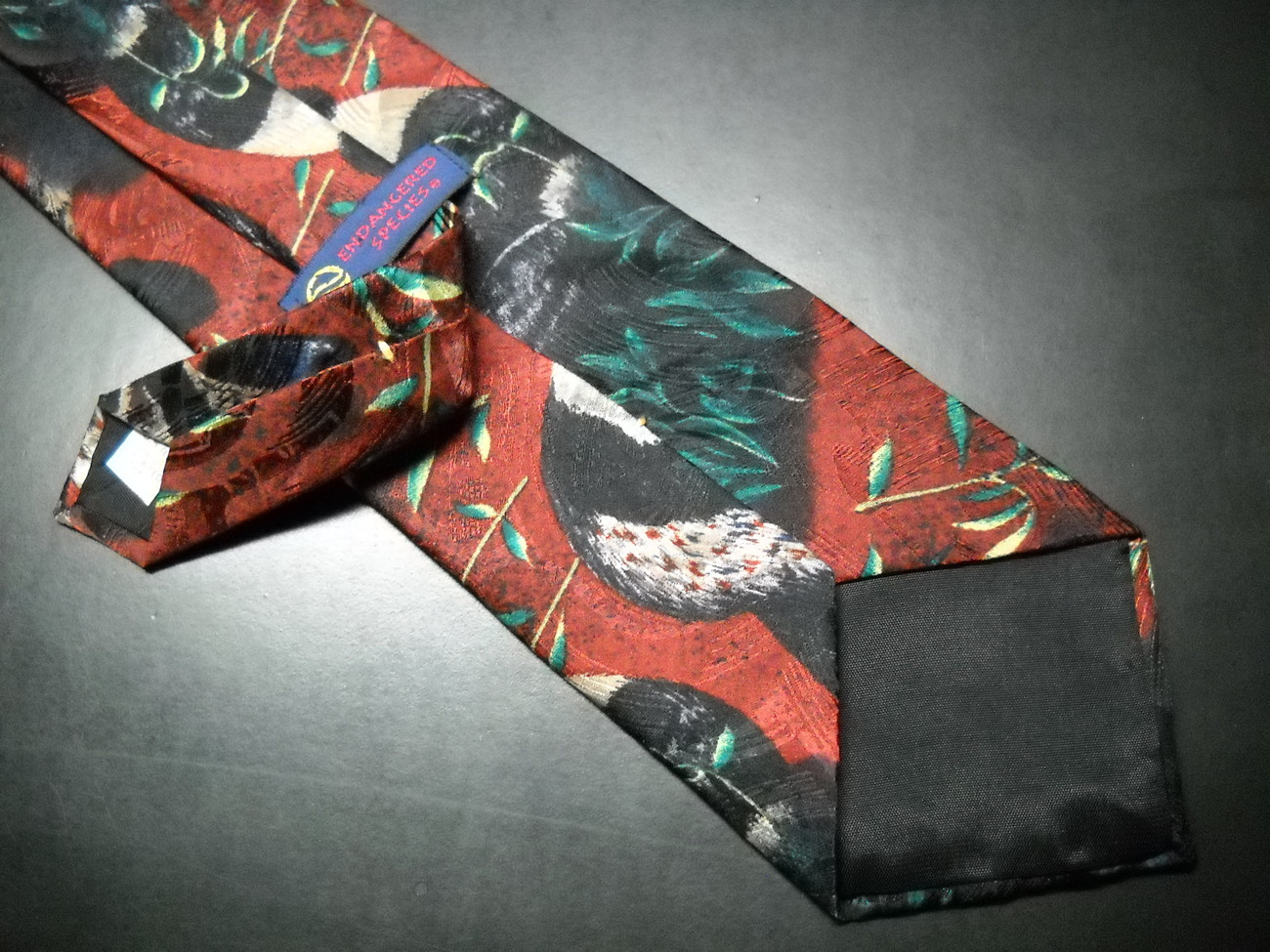 Endangered Species Neck Tie Repeating Pandas on Reds and Greens image 6