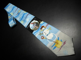Keith Daniels Neck Tie Blue Christmas Snowman Unused Still in Paper  Sleeve image 1
