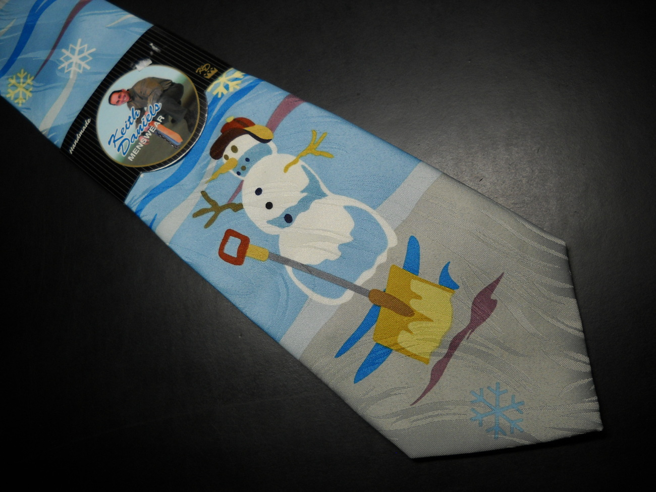 Keith Daniels Neck Tie Blue Christmas Snowman Unused Still in Paper  Sleeve image 2