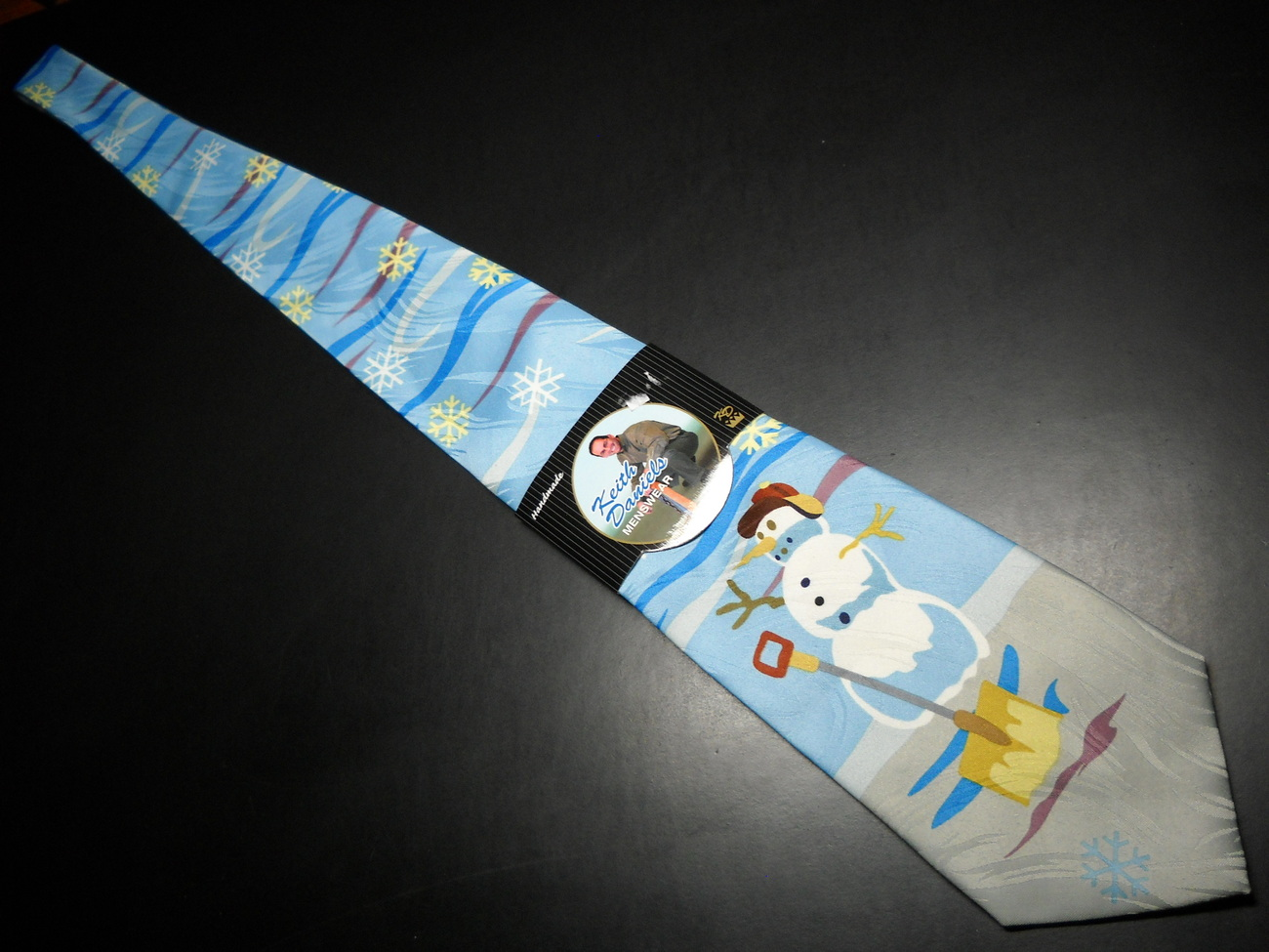 Keith Daniels Neck Tie Blue Christmas Snowman Unused Still in Paper  Sleeve image 3