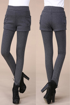 Jhonpeters Women's Thick Velvet Slim Dark Grey Leggings Short Style With Pockets - $19.99