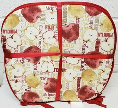"""Set of 4 CHAIR PADS CUSHIONS w/strings, 15""""x15"""", TYPES OF APPLES,RED & B... - $23.75"""