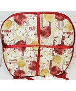 "Set of 4 CHAIR PADS CUSHIONS w/strings, 15""x15"", TYPES OF APPLES,RED & B... - $23.75"