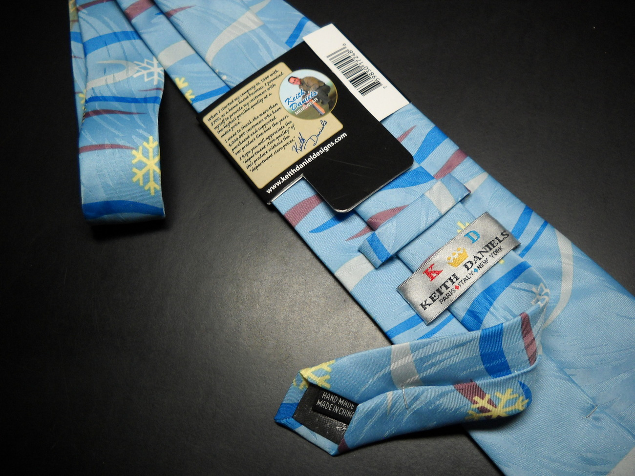 Keith Daniels Neck Tie Blue Christmas Snowman Unused Still in Paper  Sleeve image 6