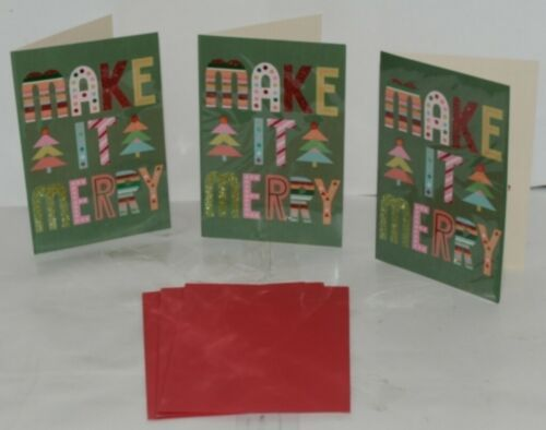 Hallmark XZH 633 4 Colorful Make It Merry Letters Christmas Card Package 3