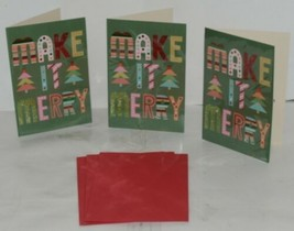 Hallmark XZH 633 4 Colorful Make It Merry Letters Christmas Card Package 3 image 1
