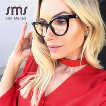 Vintage Cat Eye Glasses Frames Women Luxury Brand Designer Square Optical EyeGla image 2