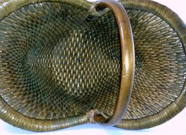 Vintage Chinese Willow Market Basket w/ Wooden Handle image 3