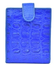 Sublime Royal Blue Made By Hand Horn Back Genuine Crocodile Leather Men Wallet - $176.39