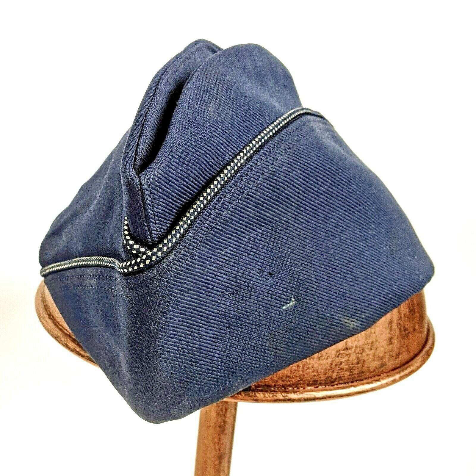 Vintage US Air Force Garrison Captain Blue Womens Wedge Military Cap Size 23 1/2 - $22.02