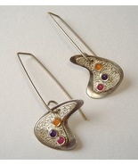 Artist Palettte Earrings Abstract Sterling Silver Handmade Pierced Pink Purple - £119.91 GBP