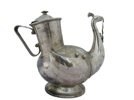 1900's Antique Chrome Plated Solid Brass Teapot / Coffee Pot Beautiful P... - $183.01