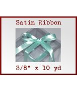 Aqua Satin Single Face Polyester Ribbon 3/8 x 10yd - $2.48