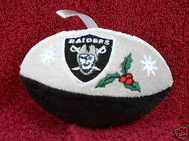 L A RAIDERS SOFT PLUSH FOOTBALL CHRISTMAS ORNAMENT SET OF 2 OLD NEW STOCK - $11.13