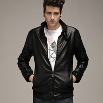 Fashion Men Leather Jacket 2018 Motorcycle Casual Jacket Coats Winter Au... - $46.92