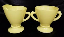 Vintage Hazel Atlas Chartruse Ovide Platonite Creamer & Sugar Set (circa 1940s) - $7.50