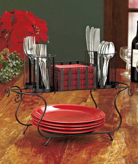 METAL BUFFET PATIO SERVING CADDY UTENCIL FLATWARE SILVERWARE DINNERWARE  TABLE