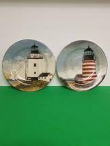 "David Carter Brown ""By the Sea"" Set 2 Salad Plates Lighthouse/Nautical S... - $11.99"