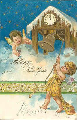 Happy New Year vintage 1907 cherubs Post Card