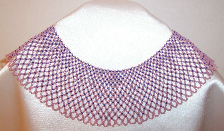 Vintage Beaded Collar Dusty Rose Pink & Blue  Lovely!