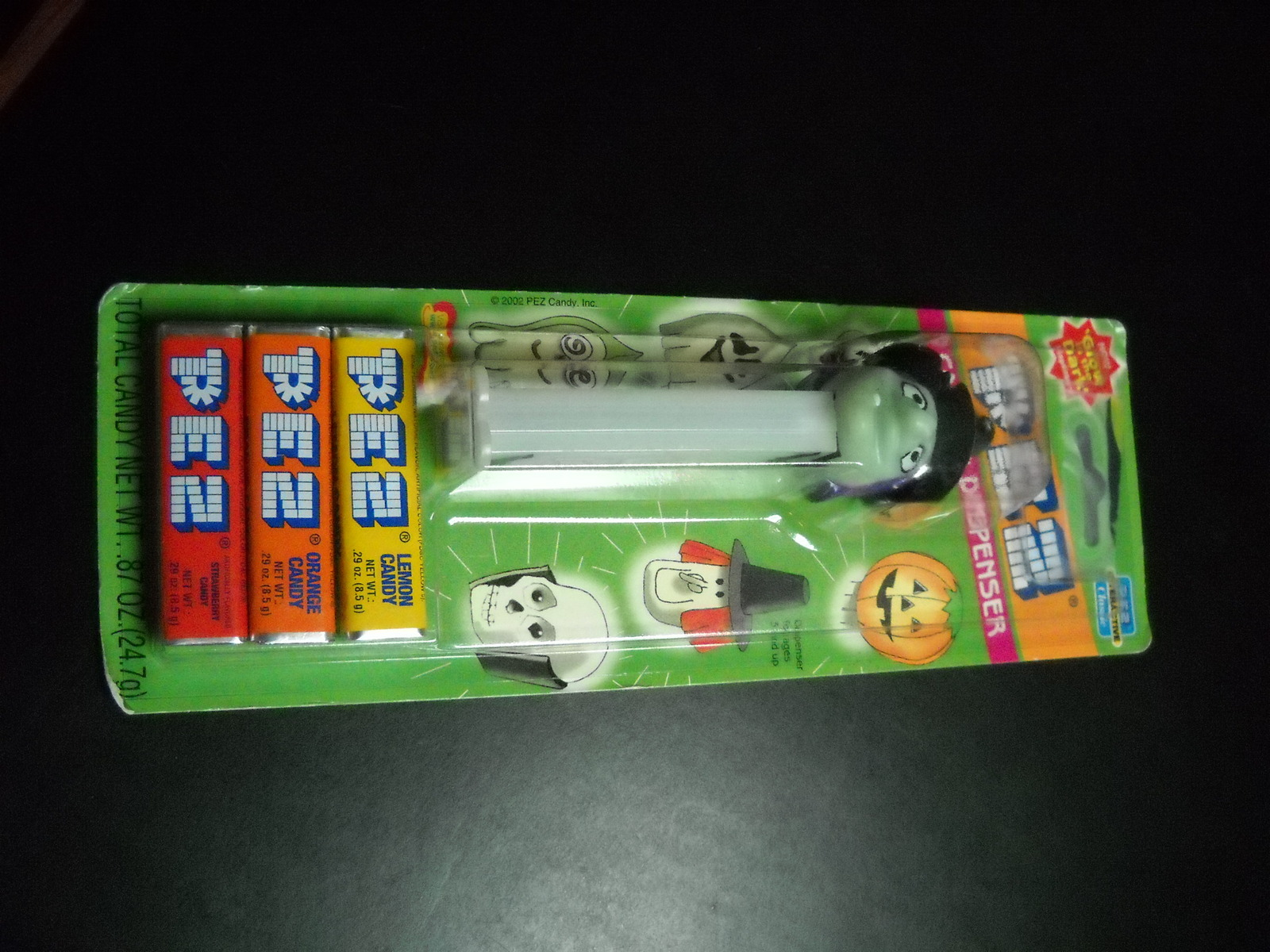 Pez Candy Dispenser and Candy 2002 Glow in the Dark Witch Unused Sealed on Card