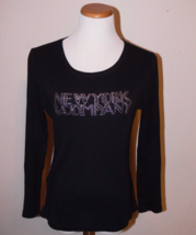 New York & Co Rhinestone Bling Black Long Sleeve Shirt Size M ek - $9.99