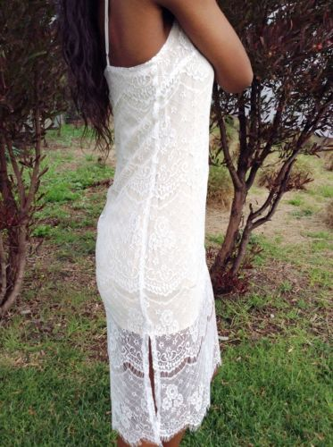 New Lush Dress Size Small Ivory Taupe Lace Overlay Nordstrom