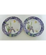 Cypress Home Set of 2 Salad Plates Iris Butterfly Fleur De Lis Sharon Himes - $18.69